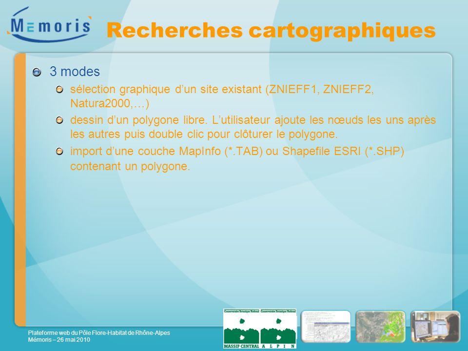 Plateforme web du Pôle Flore-Habitat de Rhône-Alpes Mémoris – 26 mai 2010 Recherches cartographiques 3 modes sélection graphique dun site existant (ZNIEFF1, ZNIEFF2, Natura2000,…) dessin dun polygone libre.