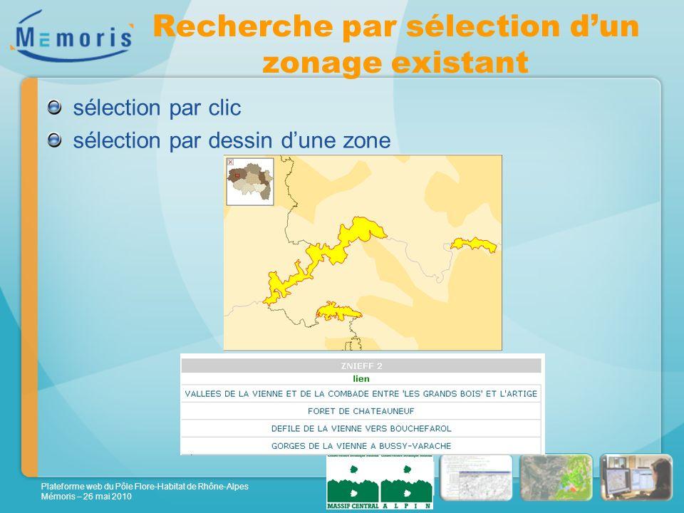 Plateforme web du Pôle Flore-Habitat de Rhône-Alpes Mémoris – 26 mai 2010 Recherche par sélection dun zonage existant sélection par clic sélection par dessin dune zone