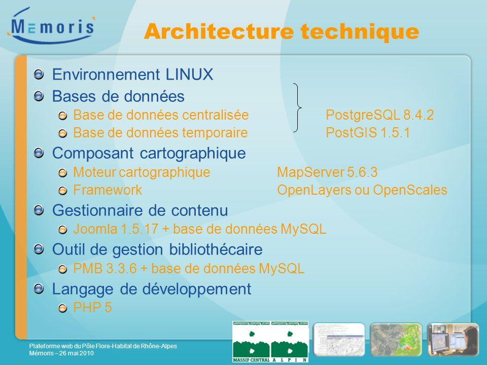 Plateforme web du Pôle Flore-Habitat de Rhône-Alpes Mémoris – 26 mai 2010 Architecture technique Environnement LINUX Bases de données Base de données centralisée PostgreSQL 8.4.2 Base de données temporairePostGIS 1.5.1 Composant cartographique Moteur cartographiqueMapServer 5.6.3 FrameworkOpenLayers ou OpenScales Gestionnaire de contenu Joomla 1.5.17 + base de données MySQL Outil de gestion bibliothécaire PMB 3.3.6 + base de données MySQL Langage de développement PHP 5