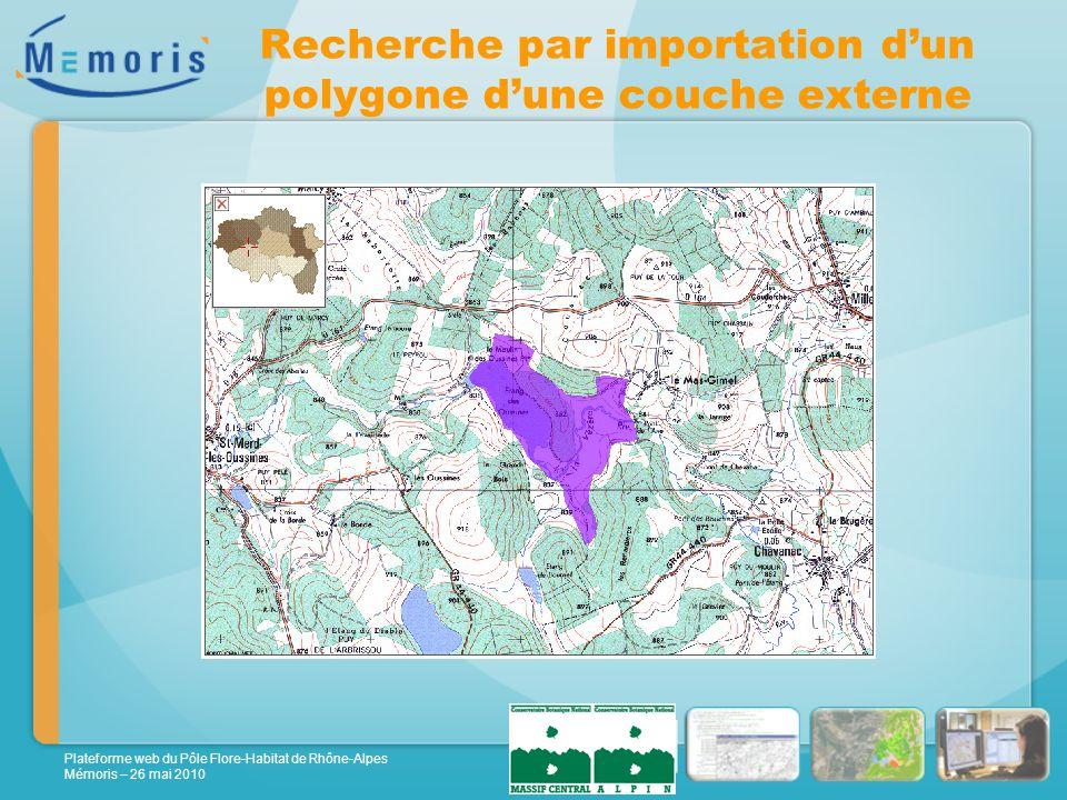 Plateforme web du Pôle Flore-Habitat de Rhône-Alpes Mémoris – 26 mai 2010 Recherche par importation dun polygone dune couche externe