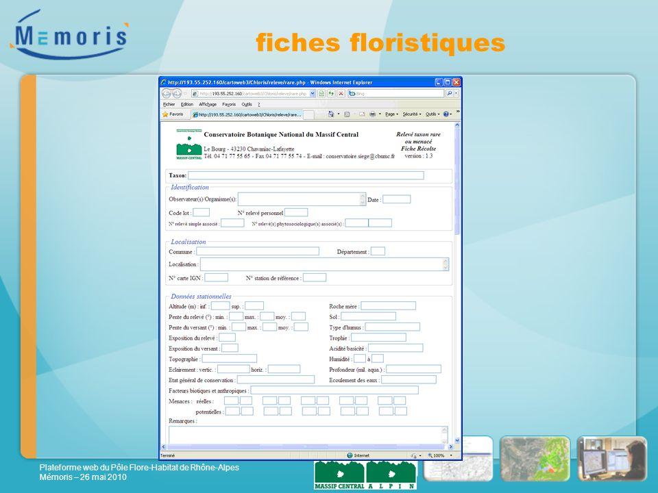 Plateforme web du Pôle Flore-Habitat de Rhône-Alpes Mémoris – 26 mai 2010 fiches floristiques