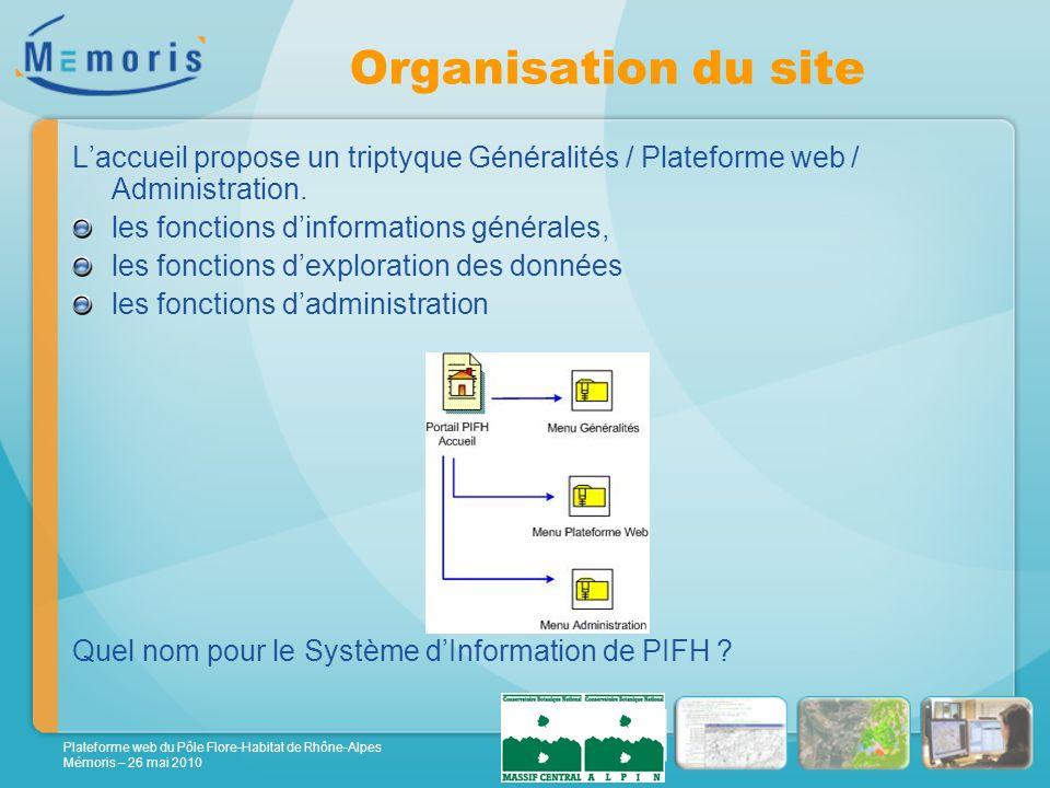Plateforme web du Pôle Flore-Habitat de Rhône-Alpes Mémoris – 26 mai 2010 Organisation du site Laccueil propose un triptyque Généralités / Plateforme web / Administration.