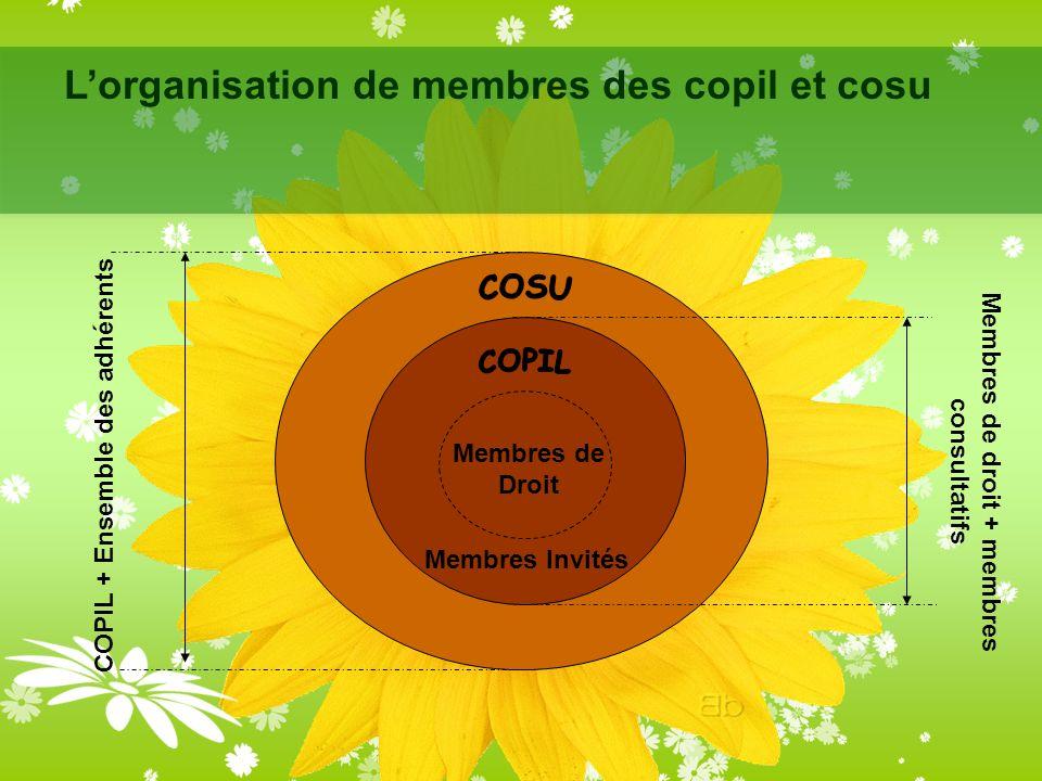 Lorganisation de membres des copil et cosu Membres de Droit Membres Invités Membres de droit + membres consultatifs COPIL + Ensemble des adhérents