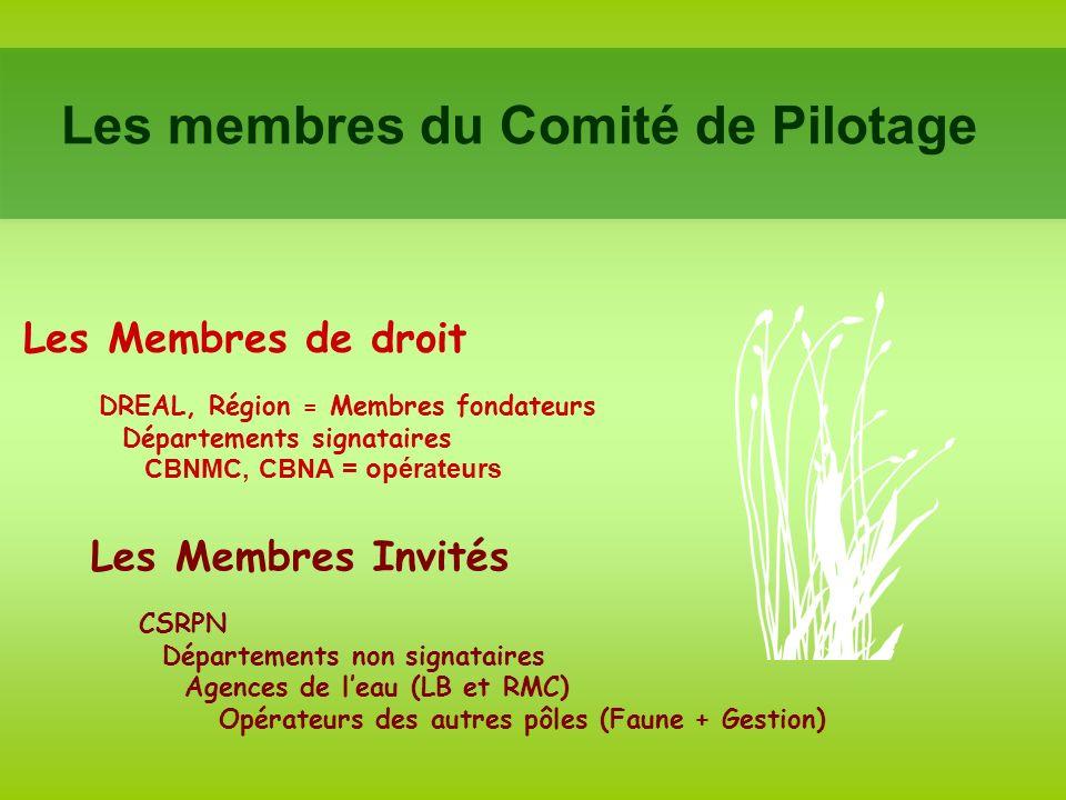 Les membres du Comité de Pilotage Les Membres de droit DREAL, Région = Membres fondateurs Départements signataires CBNMC, CBNA = opérateurs Les Membres Invités CSRPN Départements non signataires Agences de leau (LB et RMC) Opérateurs des autres pôles (Faune + Gestion)