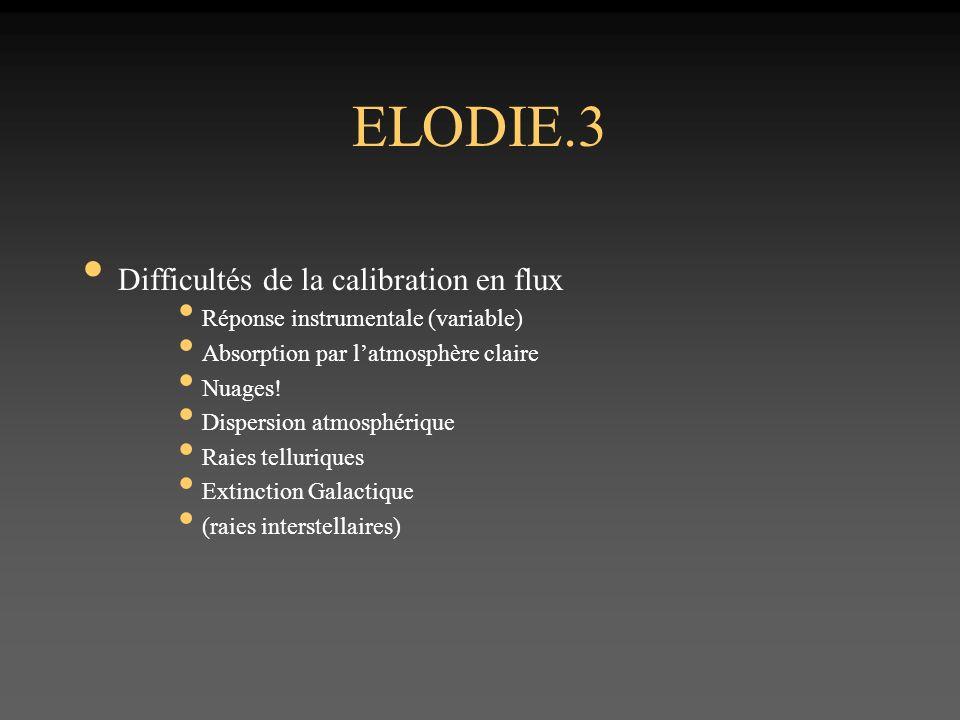 ELODIE.3 Difficultés de la calibration en flux Réponse instrumentale (variable) Absorption par latmosphère claire Nuages.