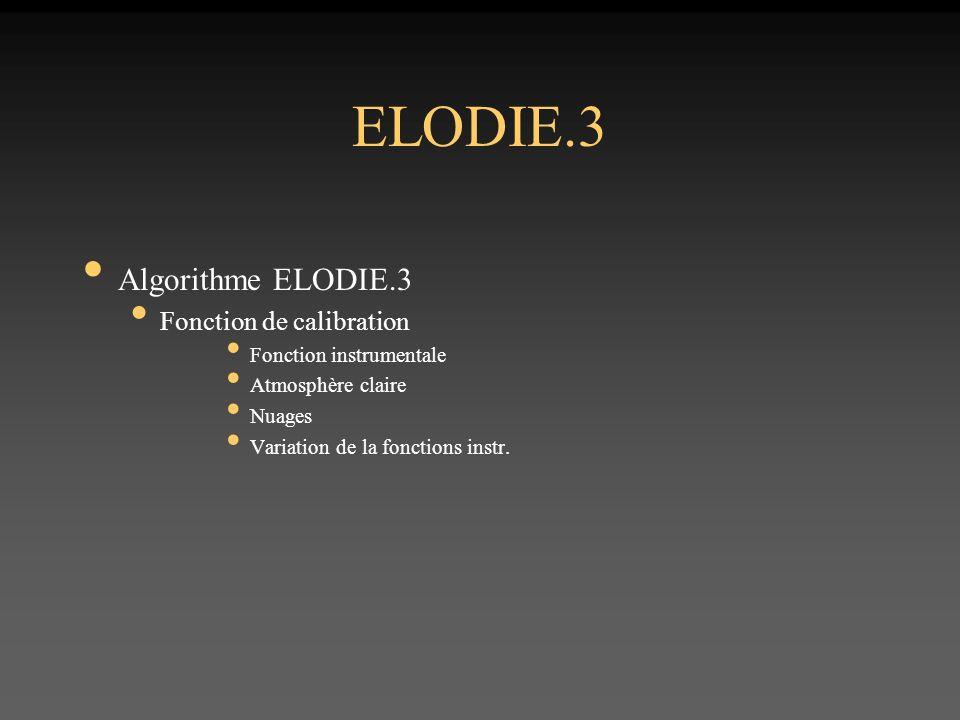 ELODIE.3 Algorithme ELODIE.3 Fonction de calibration Fonction instrumentale Atmosphère claire Nuages Variation de la fonctions instr.