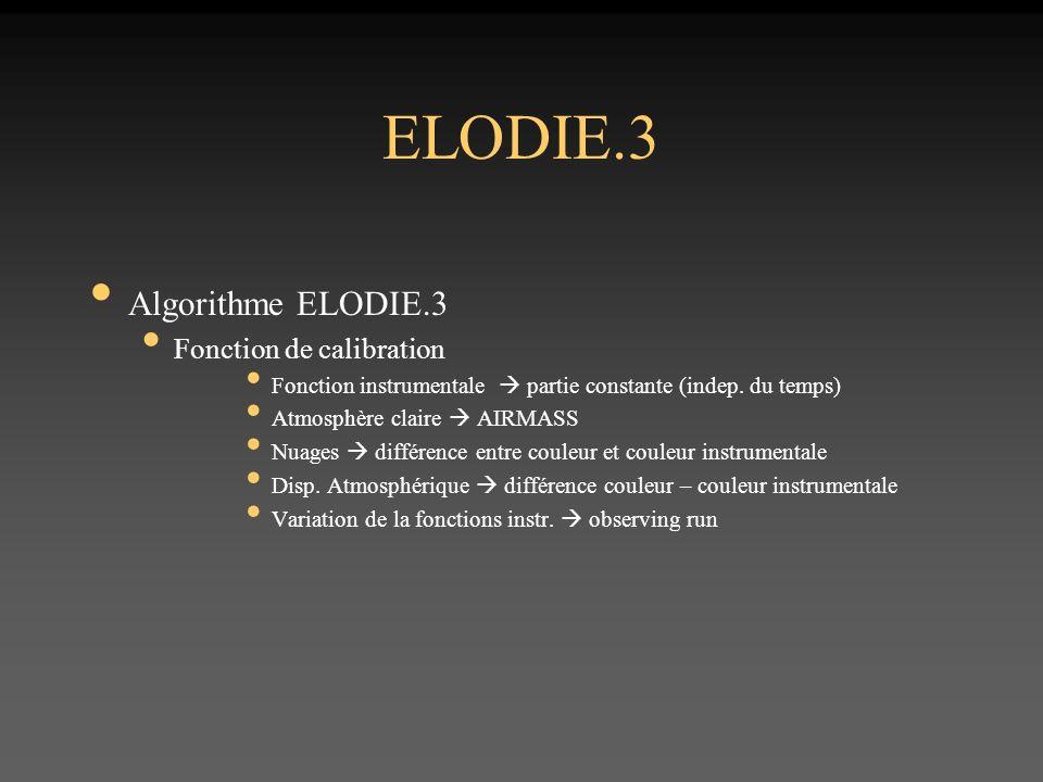 ELODIE.3 Algorithme ELODIE.3 Fonction de calibration Fonction instrumentale partie constante (indep.