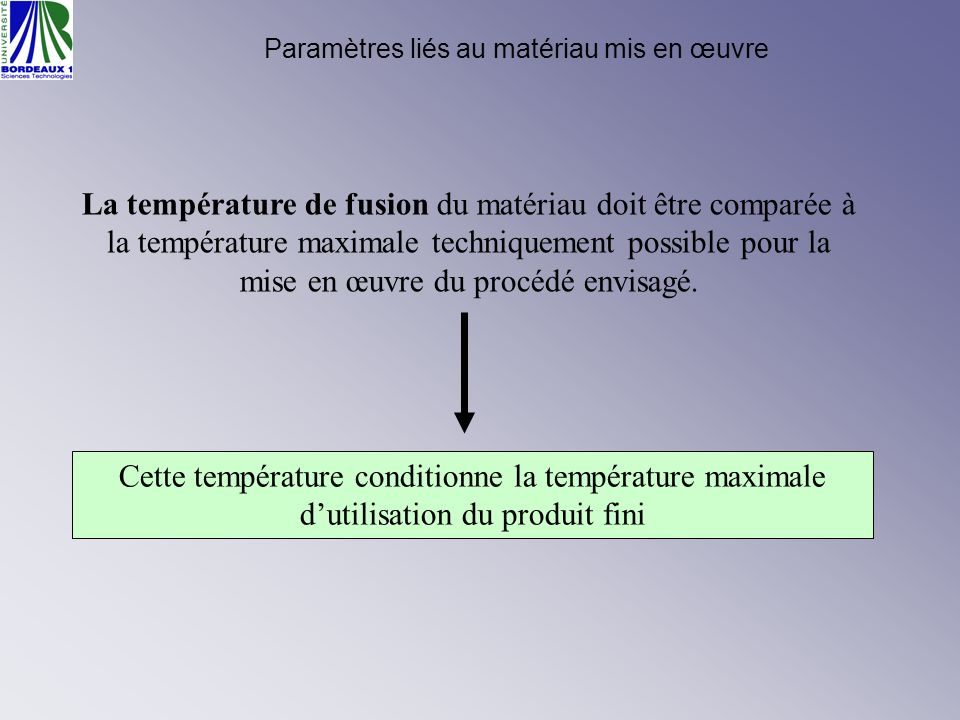Paramètres liés au matériau mis en œuvre La température de fusion du matériau doit être comparée à la température maximale techniquement possible pour