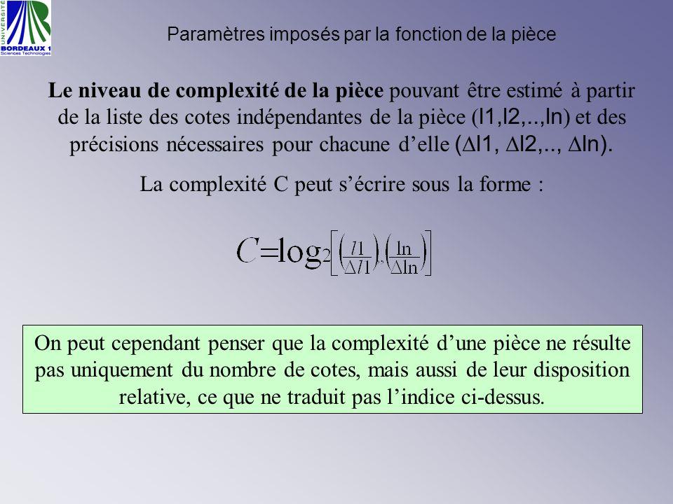 Le niveau de complexité de la pièce pouvant être estimé à partir de la liste des cotes indépendantes de la pièce ( l1,l2,..,ln ) et des précisions néc