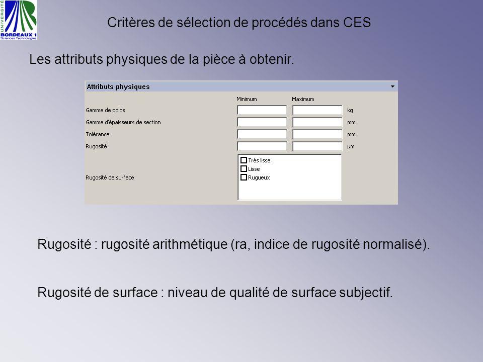 Critères de sélection de procédés dans CES Les attributs physiques de la pièce à obtenir. Rugosité : rugosité arithmétique (ra, indice de rugosité nor