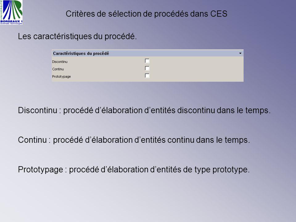 Critères de sélection de procédés dans CES Les caractéristiques du procédé. Discontinu : procédé délaboration dentités discontinu dans le temps. Conti