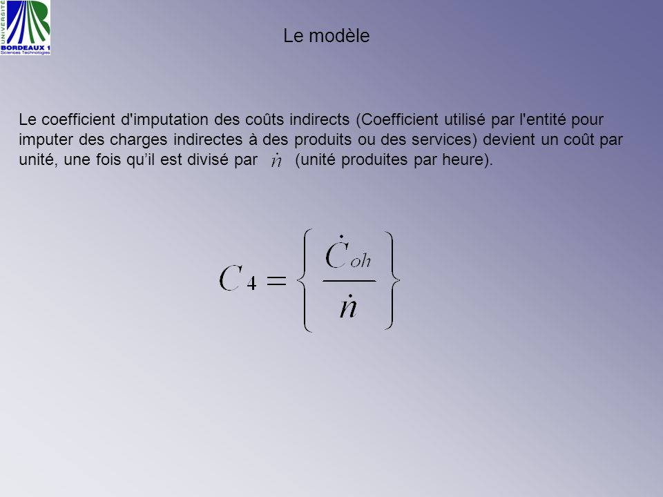 Le modèle Le coefficient d'imputation des coûts indirects (Coefficient utilisé par l'entité pour imputer des charges indirectes à des produits ou des