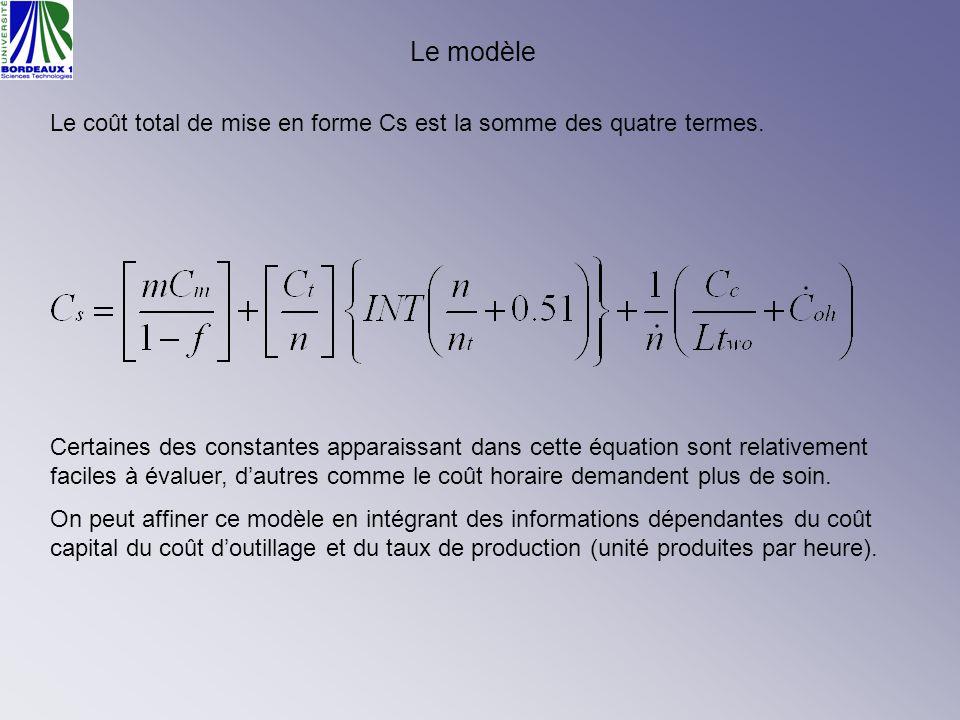 Certaines des constantes apparaissant dans cette équation sont relativement faciles à évaluer, dautres comme le coût horaire demandent plus de soin. O