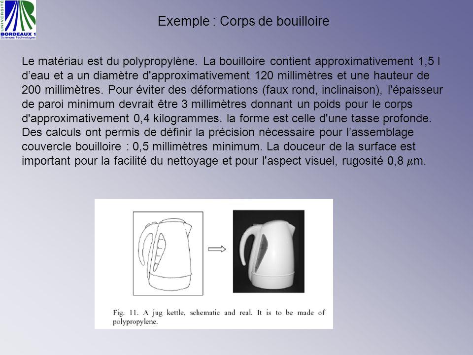 Exemple : Corps de bouilloire Le matériau est du polypropylène. La bouilloire contient approximativement 1,5 l deau et a un diamètre d'approximativeme