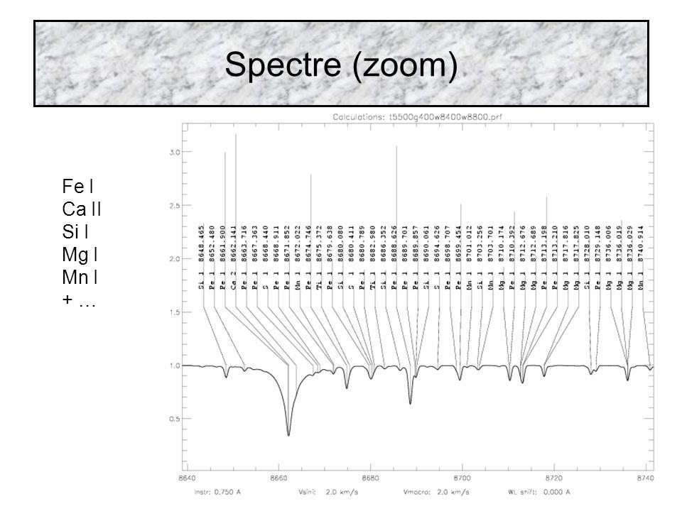 Spectre (zoom) Fe I Ca II Si I Mg I Mn I + …