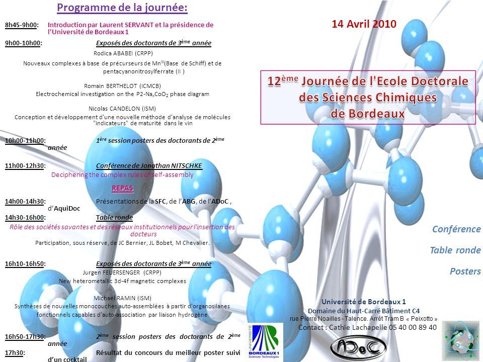 14 Avril 2010 Conférence Table ronde Posters Université de Bordeaux 1 Domaine du Haut-Carré Bâtiment C4 rue Pierre Noailles - Talence.