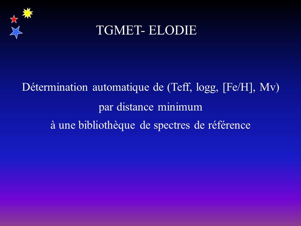 TGMET- ELODIE Détermination automatique de (Teff, logg, [Fe/H], Mv) par distance minimum à une bibliothèque de spectres de référence