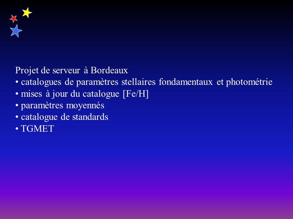 Projet de serveur à Bordeaux catalogues de paramètres stellaires fondamentaux et photométrie mises à jour du catalogue [Fe/H] paramètres moyennés catalogue de standards TGMET