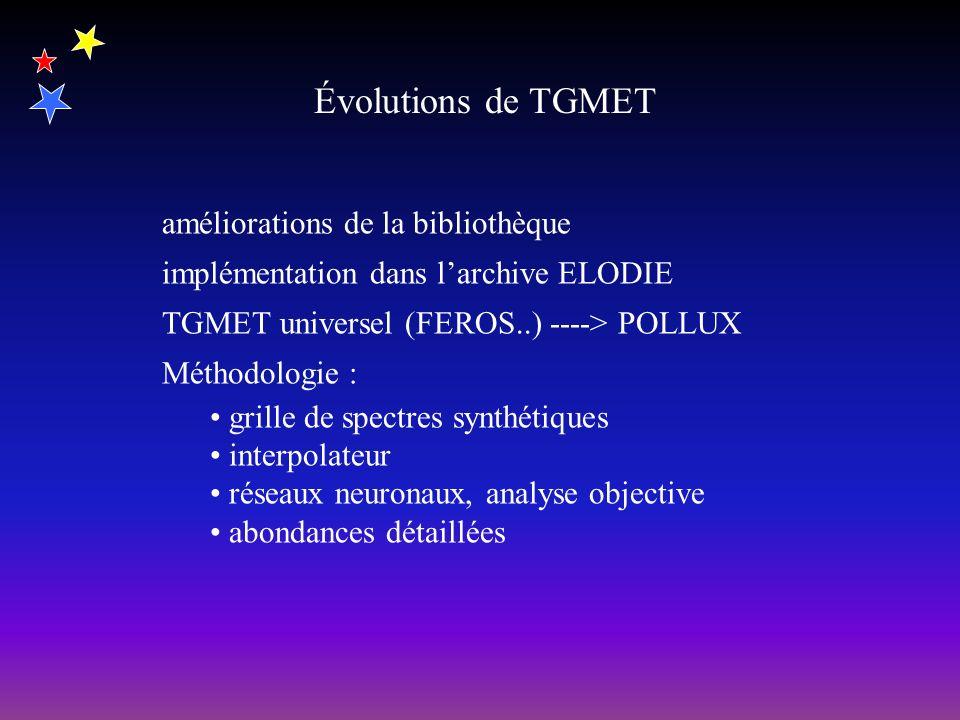 Évolutions de TGMET améliorations de la bibliothèque implémentation dans larchive ELODIE TGMET universel (FEROS..) ----> POLLUX Méthodologie : grille de spectres synthétiques interpolateur réseaux neuronaux, analyse objective abondances détaillées