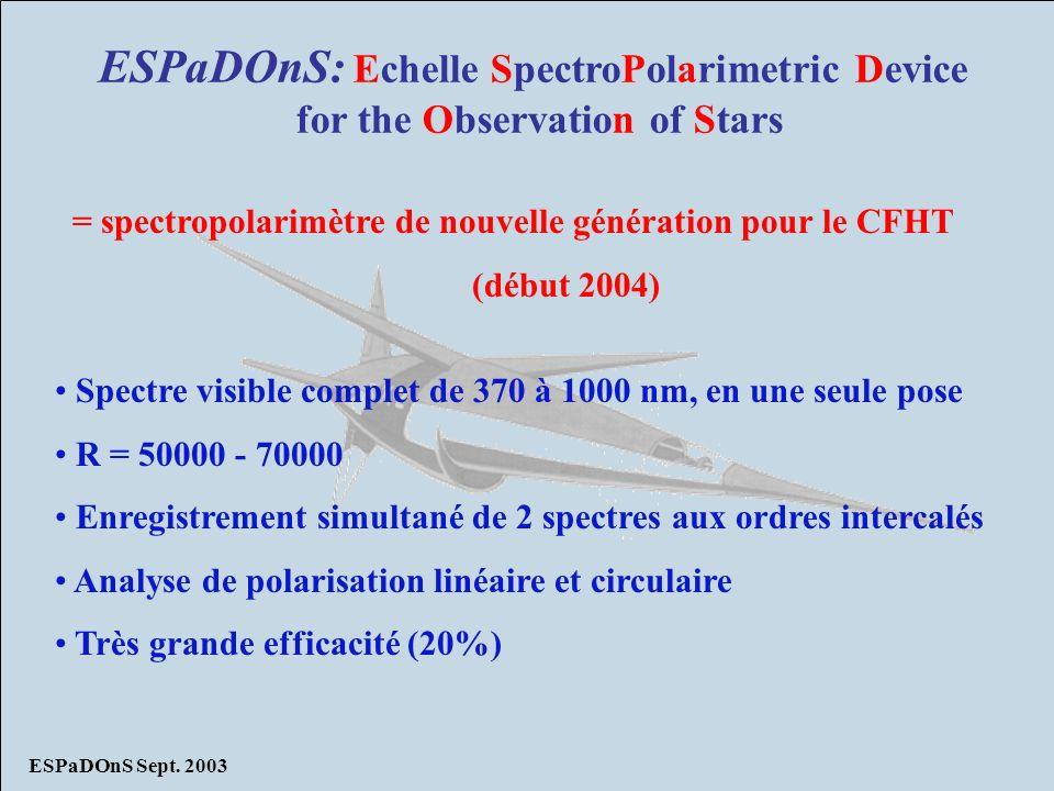 ESPaDOnS Sept. 2003 ESPaDOnS: Echelle SpectroPolarimetric Device for the Observation of Stars = spectropolarimètre de nouvelle génération pour le CFHT