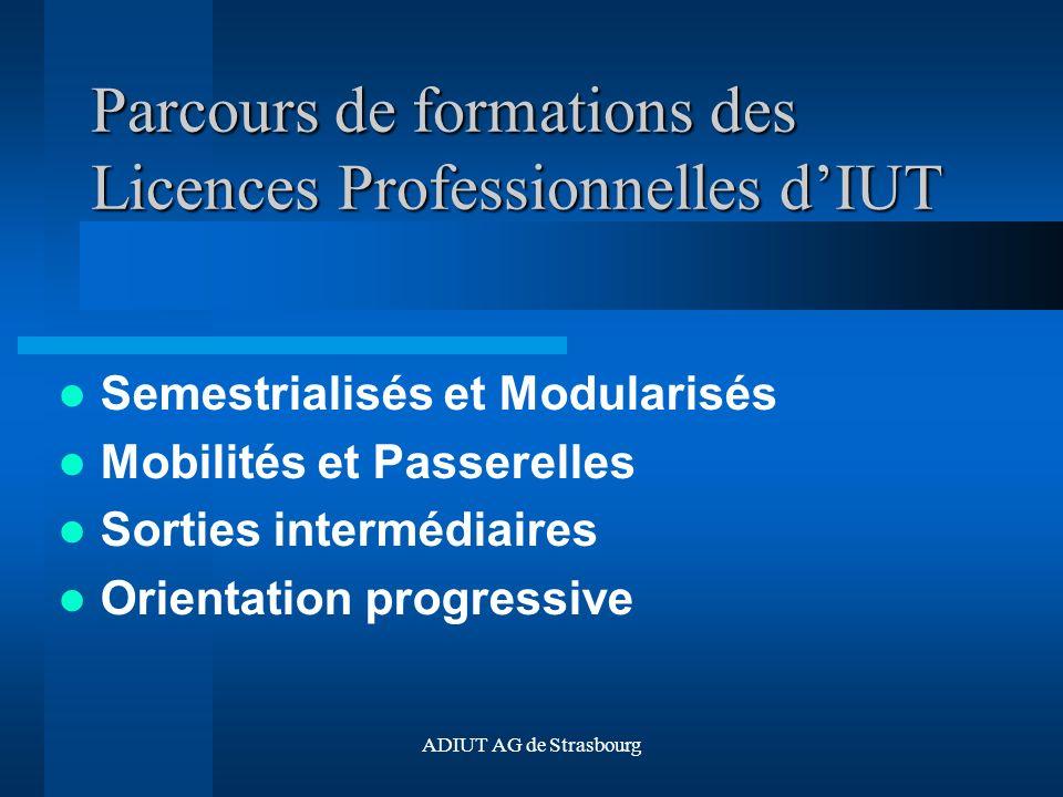ADIUT AG de Strasbourg Parcours de formations des Licences Professionnelles dIUT Semestrialisés et Modularisés Mobilités et Passerelles Sorties intermédiaires Orientation progressive