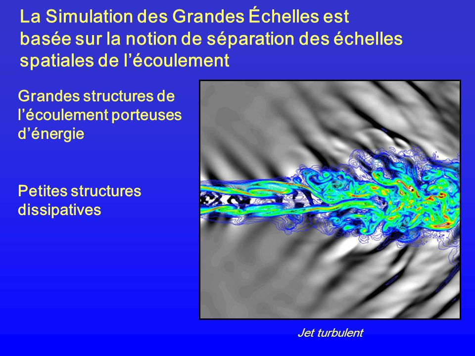 La Simulation des Grandes Échelles est basée sur la notion de séparation des échelles spatiales de lécoulement Grandes structures de lécoulement porte