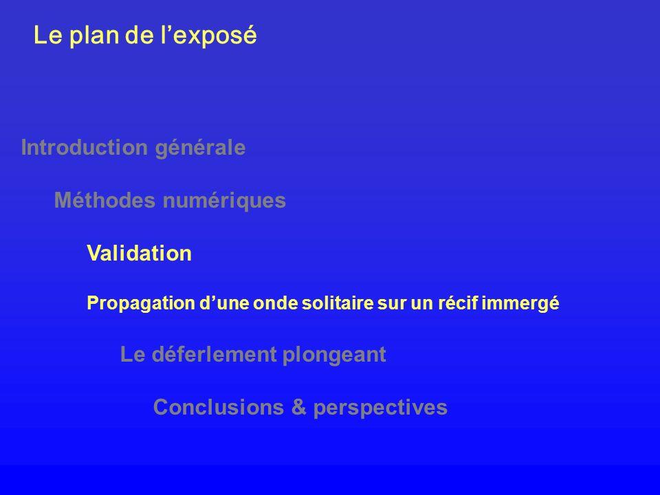 Le plan de lexposé Introduction générale Méthodes numériques Validation Propagation dune onde solitaire sur un récif immergé Le déferlement plongeant