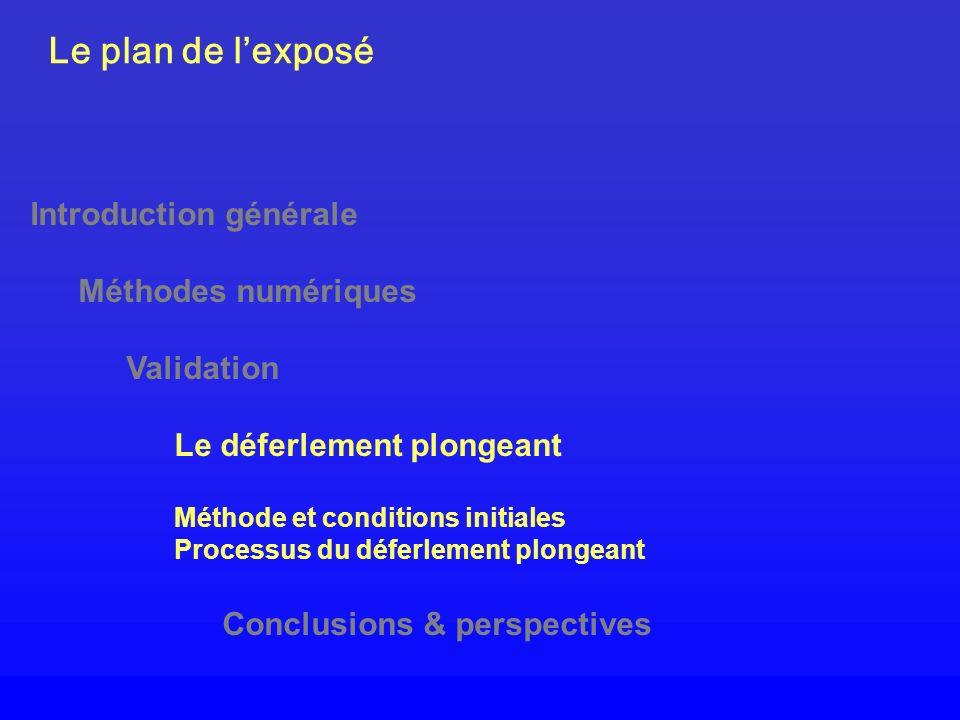 Le plan de lexposé Introduction générale Méthodes numériques Validation Le déferlement plongeant Méthode et conditions initiales Processus du déferlem