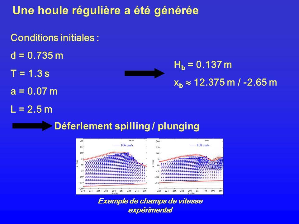 Une houle régulière a été générée Conditions initiales : d = 0.735 m T = 1.3 s a = 0.07 m L = 2.5 m H b = 0.137 m x b 12.375 m / -2.65 m Déferlement s