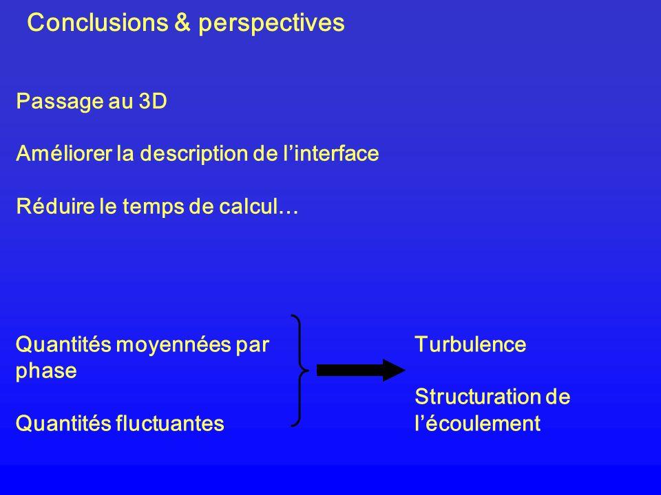 Conclusions & perspectives Turbulence Structuration de lécoulement Quantités moyennées par phase Quantités fluctuantes Passage au 3D Améliorer la desc
