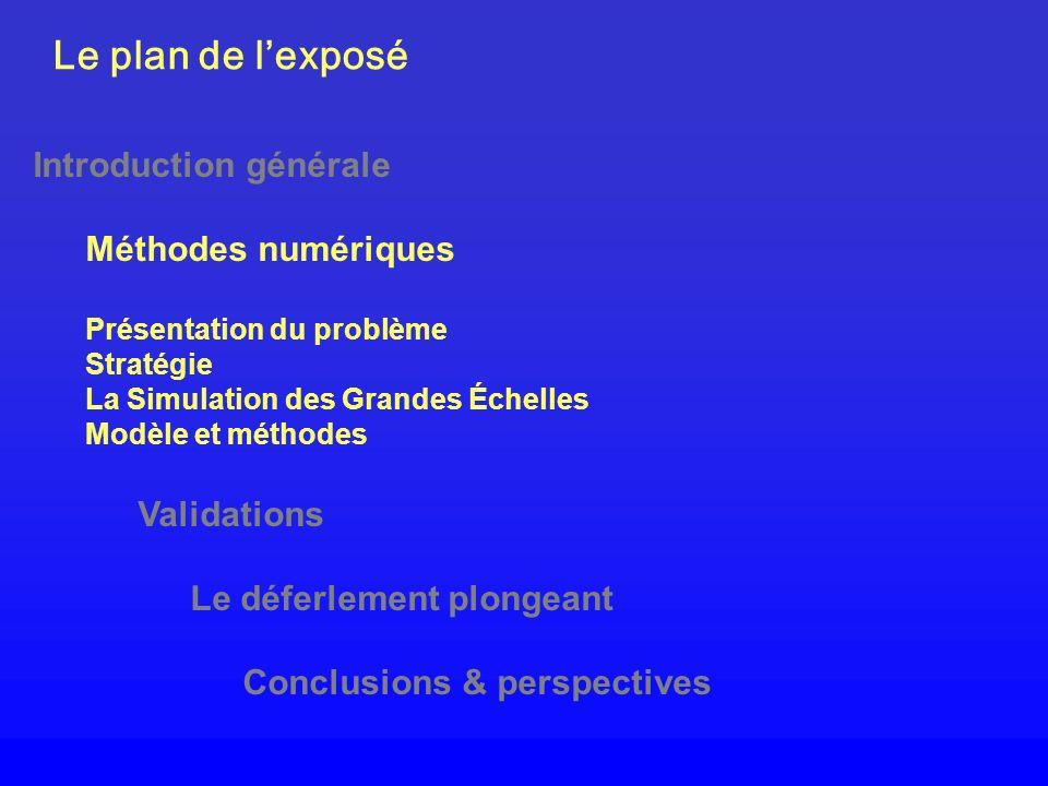 Le plan de lexposé Introduction générale Méthodes numériques Présentation du problème Stratégie La Simulation des Grandes Échelles Modèle et méthodes