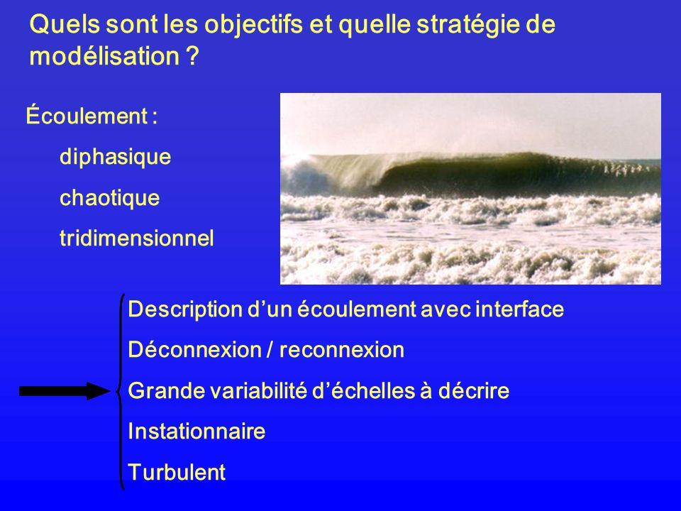 Quels sont les objectifs et quelle stratégie de modélisation ? Écoulement : diphasique chaotique tridimensionnel Description dun écoulement avec inter