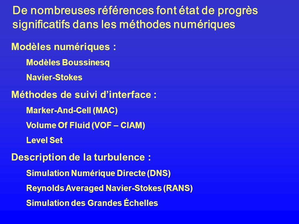 De nombreuses références font état de progrès significatifs dans les méthodes numériques Modèles numériques : Modèles Boussinesq Navier-Stokes Méthode