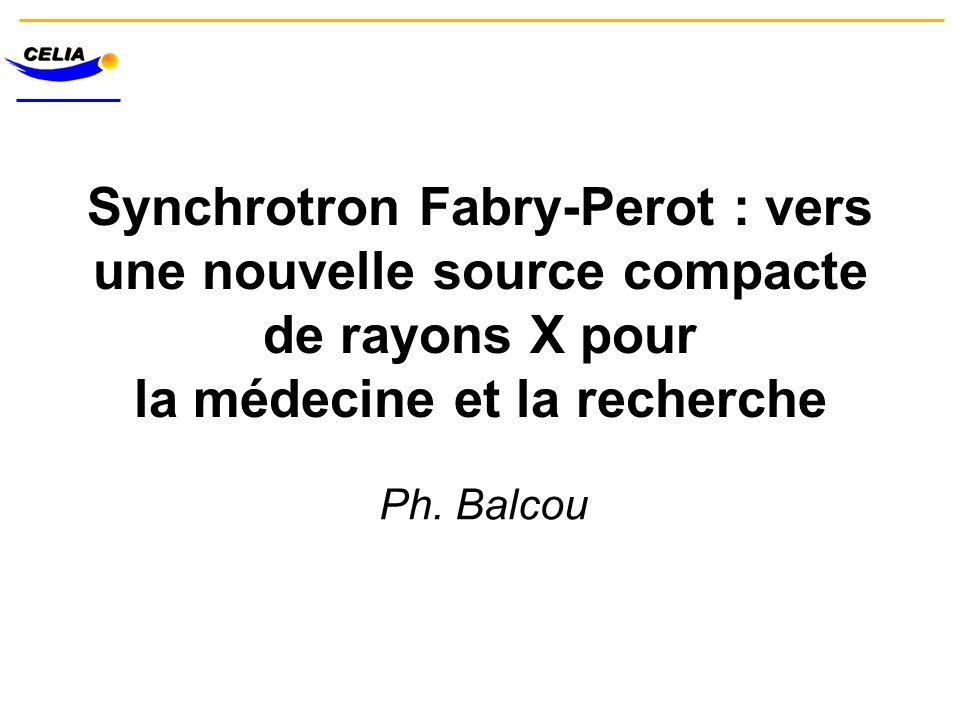 Synchrotron Fabry-Perot : vers une nouvelle source compacte de rayons X pour la médecine et la recherche Ph. Balcou