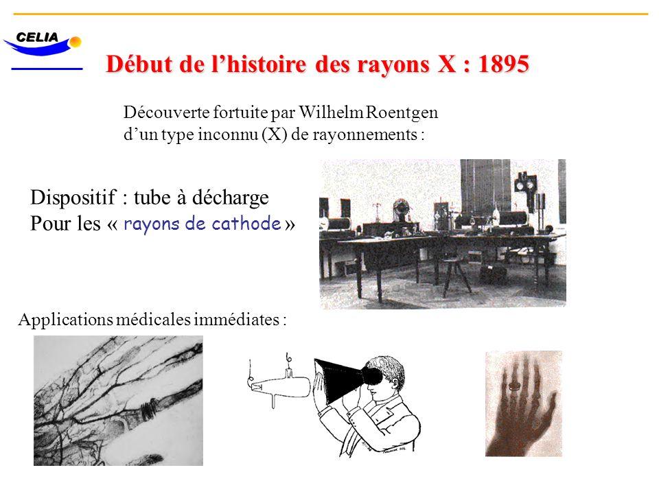 Début de lhistoire des rayons X : 1895 Découverte fortuite par Wilhelm Roentgen dun type inconnu (X) de rayonnements : Dispositif : tube à décharge Po