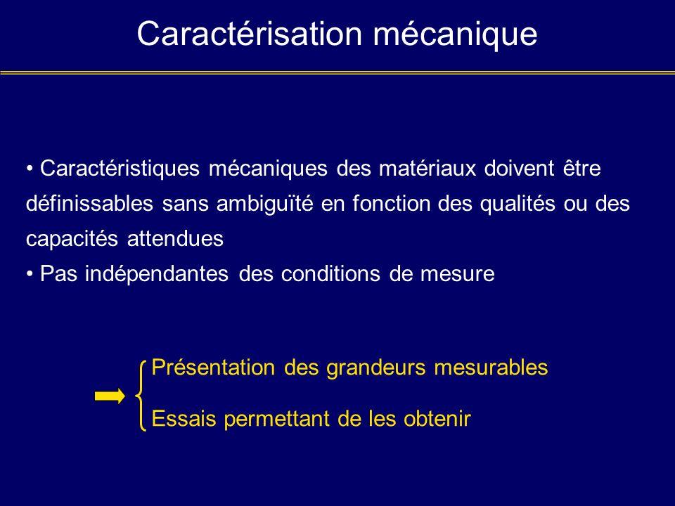 Caractérisation mécanique Caractéristiques mécaniques des matériaux doivent être définissables sans ambiguïté en fonction des qualités ou des capacité