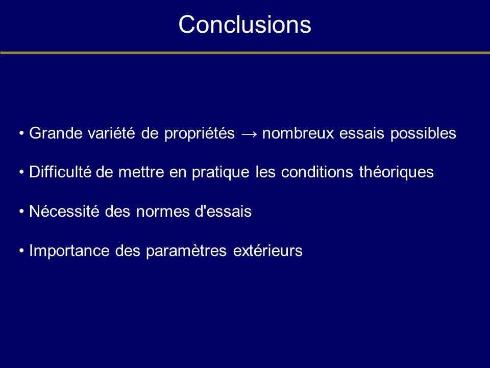 Conclusions Grande variété de propriétés nombreux essais possibles Difficulté de mettre en pratique les conditions théoriques Nécessité des normes d'e