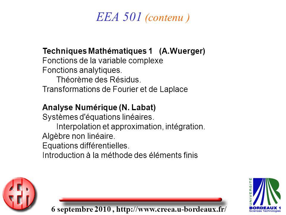 6 septembre 2010, http://www.creea.u-bordeaux.fr/ EEA 501 (contenu ) Techniques Mathématiques 1 (A.Wuerger) Fonctions de la variable complexe Fonctions analytiques.
