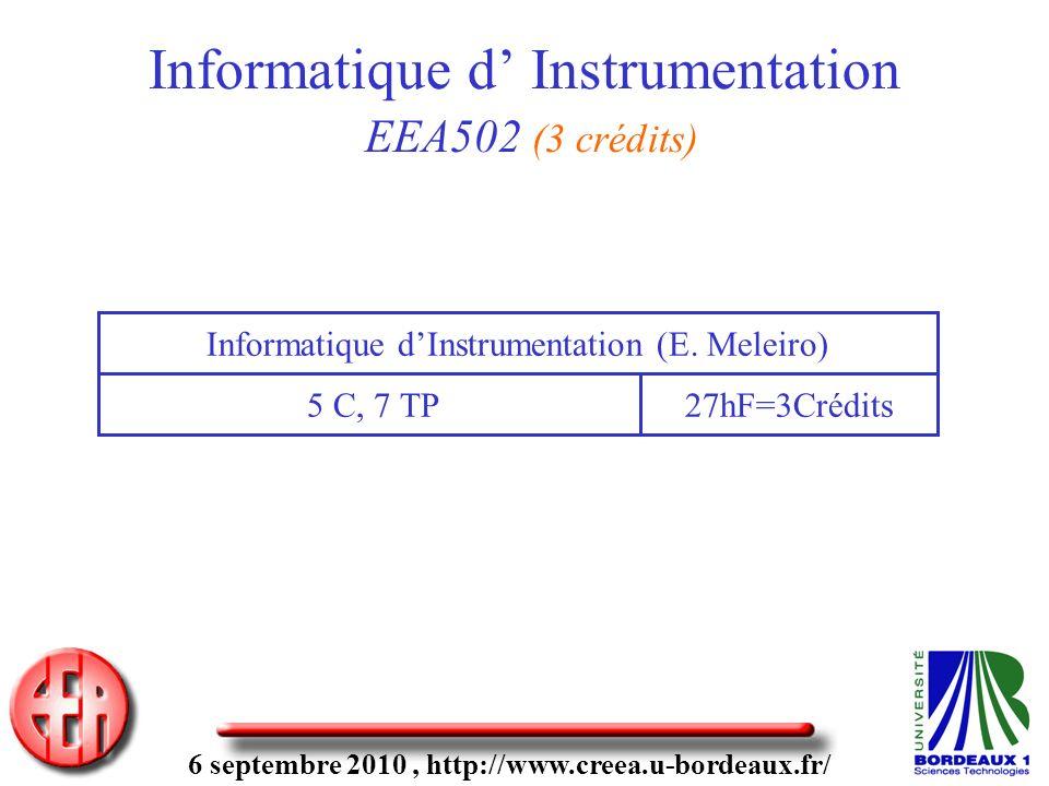 6 septembre 2010, http://www.creea.u-bordeaux.fr/ Informatique d Instrumentation EEA502 (3 crédits) 5 C, 7 TP Informatique dInstrumentation (E.