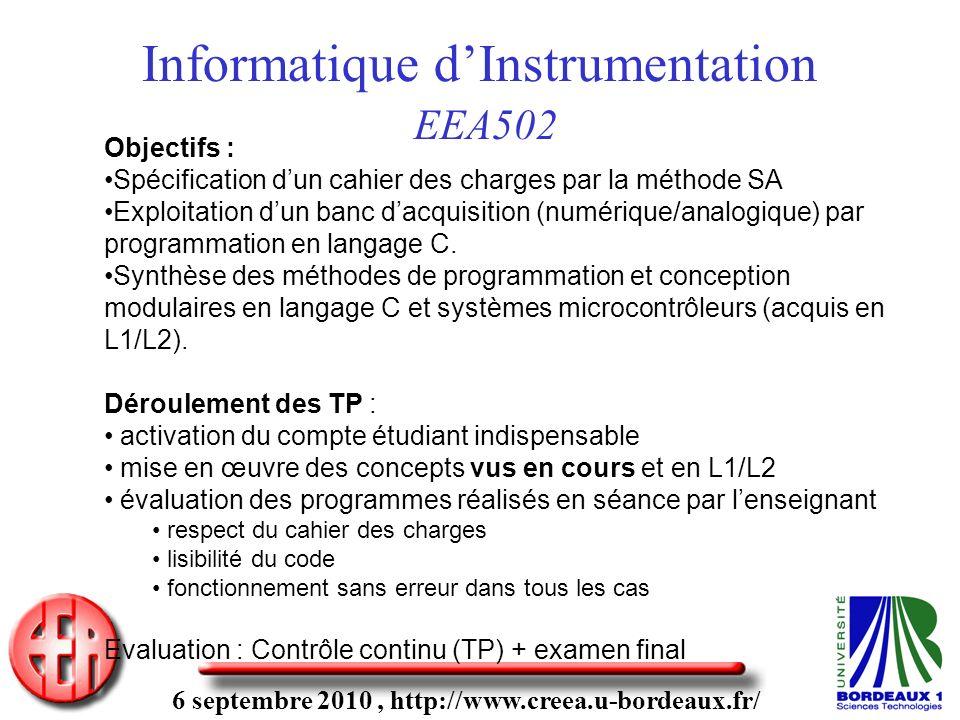 6 septembre 2010, http://www.creea.u-bordeaux.fr/ Informatique dInstrumentation EEA502 Objectifs : Spécification dun cahier des charges par la méthode SA Exploitation dun banc dacquisition (numérique/analogique) par programmation en langage C.