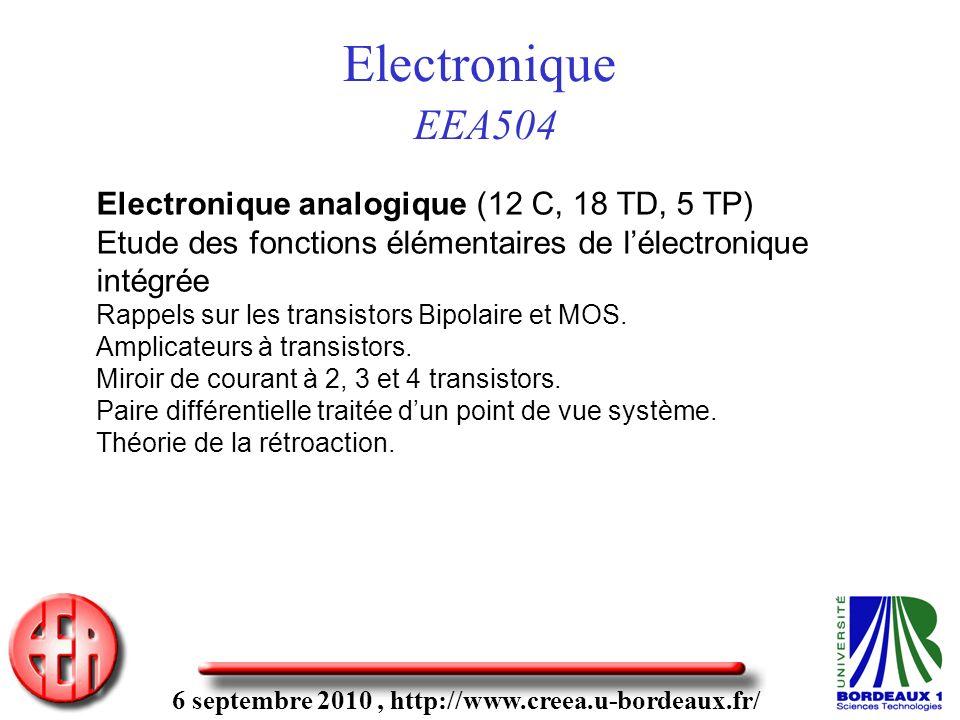 6 septembre 2010, http://www.creea.u-bordeaux.fr/ Electronique EEA504 Electronique analogique (12 C, 18 TD, 5 TP) Etude des fonctions élémentaires de lélectronique intégrée Rappels sur les transistors Bipolaire et MOS.