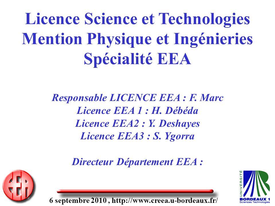 6 septembre 2010, http://www.creea.u-bordeaux.fr/ Licence Science et Technologies Mention Physique et Ingénieries Spécialité EEA Responsable LICENCE EEA : F.