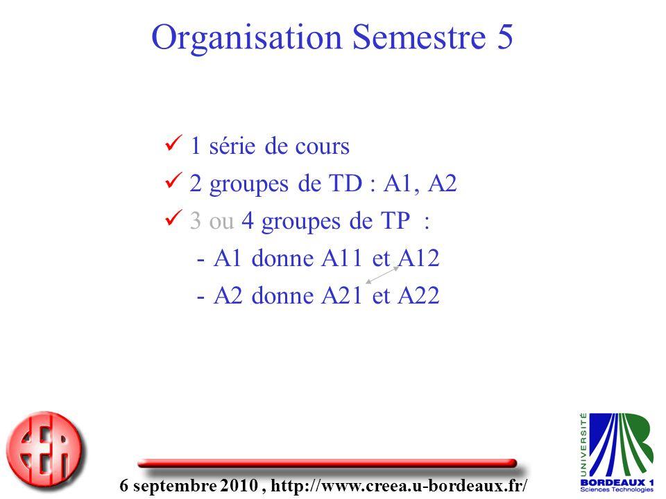 6 septembre 2010, http://www.creea.u-bordeaux.fr/ Organisation Semestre 5 1 série de cours 2 groupes de TD : A1, A2 3 ou 4 groupes de TP : -A1 donne A