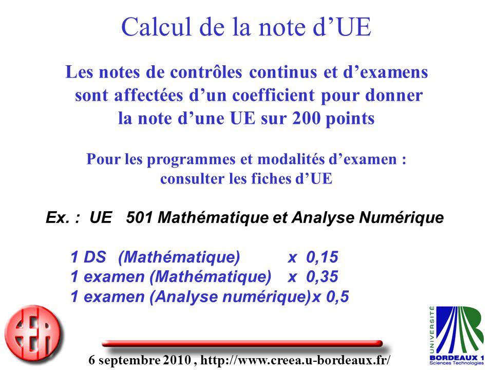 6 septembre 2010, http://www.creea.u-bordeaux.fr/ Les notes de contrôles continus et dexamens sont affectées dun coefficient pour donner la note dune UE sur 200 points Pour les programmes et modalités dexamen : consulter les fiches dUE Ex.