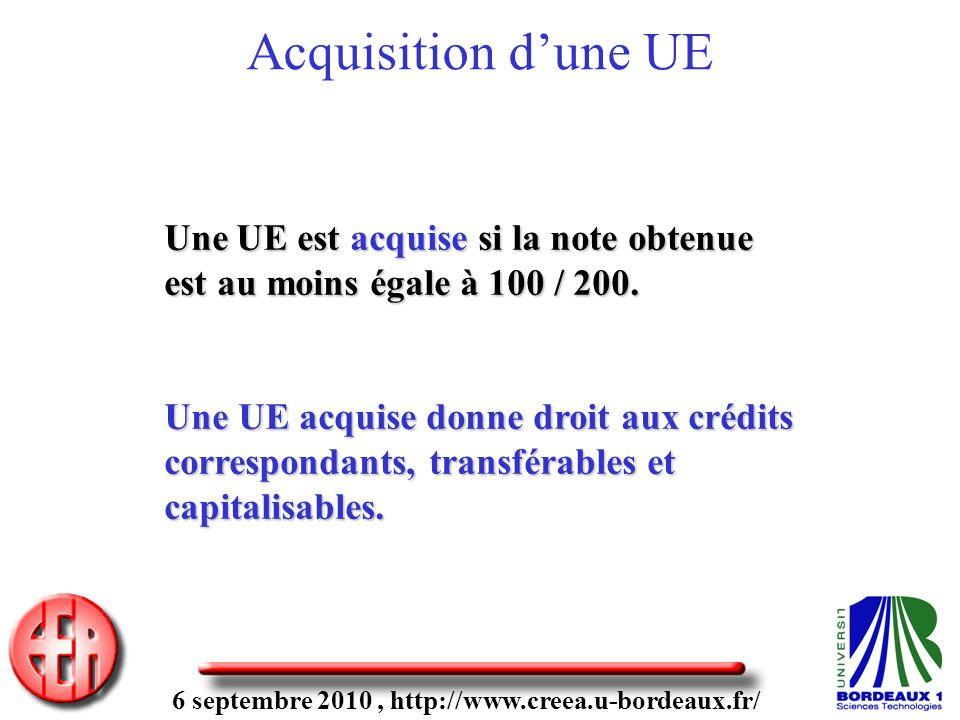 6 septembre 2010, http://www.creea.u-bordeaux.fr/ Une UE est acquise si la note obtenue est au moins égale à 100 / 200. Une UE acquise donne droit aux