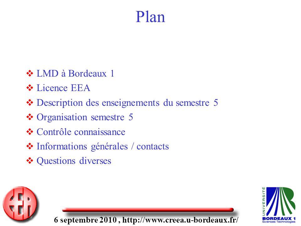 6 septembre 2010, http://www.creea.u-bordeaux.fr/ Plan LMD à Bordeaux 1 Licence EEA Description des enseignements du semestre 5 Organisation semestre 5 Contrôle connaissance Informations générales / contacts Questions diverses