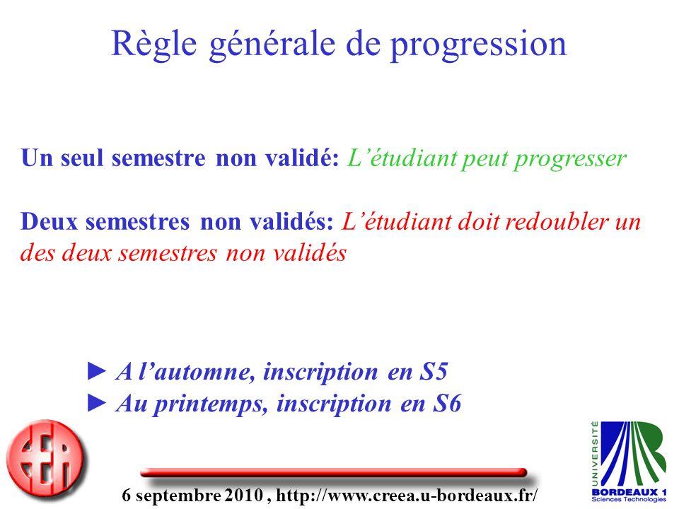 6 septembre 2010, http://www.creea.u-bordeaux.fr/ Un seul semestre non validé: Létudiant peut progresser Deux semestres non validés: Létudiant doit re