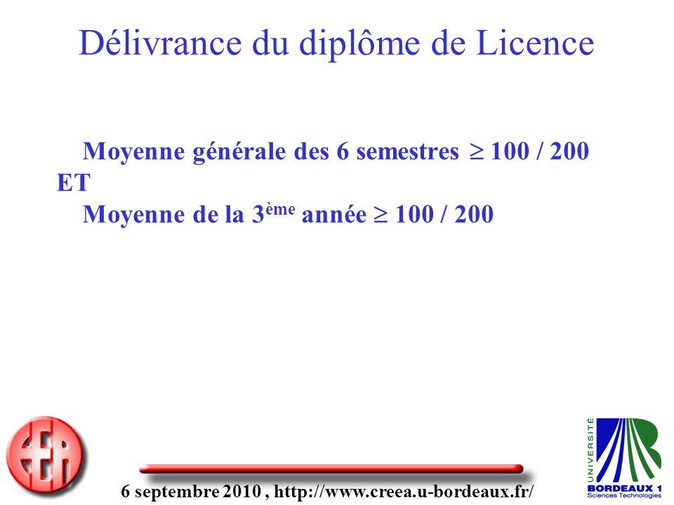 6 septembre 2010, http://www.creea.u-bordeaux.fr/ Délivrance du diplôme de Licence Moyenne générale des 6 semestres 100 / 200 ET Moyenne de la 3 ème a