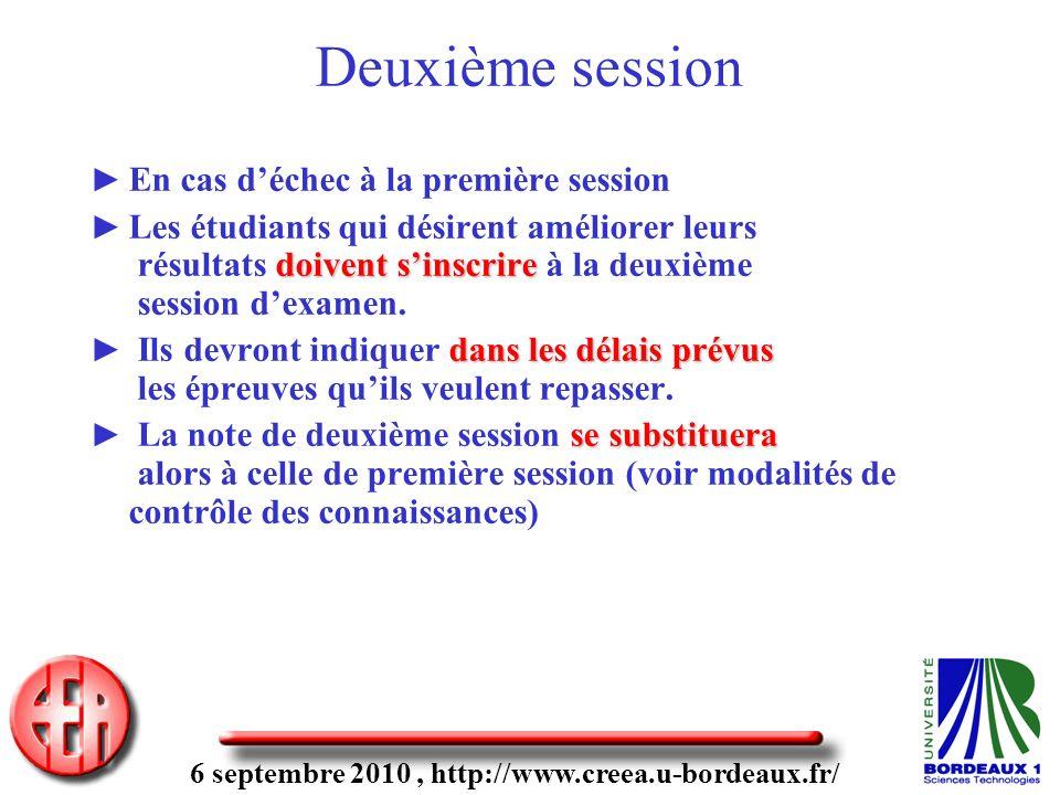 6 septembre 2010, http://www.creea.u-bordeaux.fr/ En cas déchec à la première session doivent sinscrire Les étudiants qui désirent améliorer leurs résultats doivent sinscrire à la deuxième session dexamen.