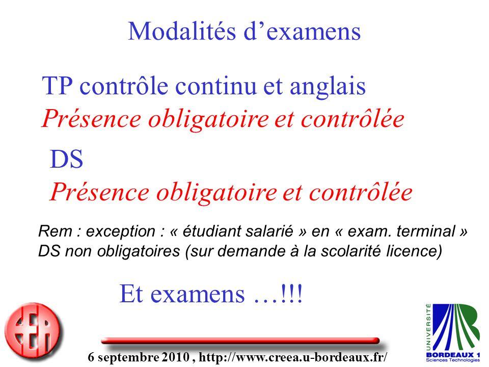 6 septembre 2010, http://www.creea.u-bordeaux.fr/ Modalités dexamens TP contrôle continu et anglais Présence obligatoire et contrôlée DS Présence obli